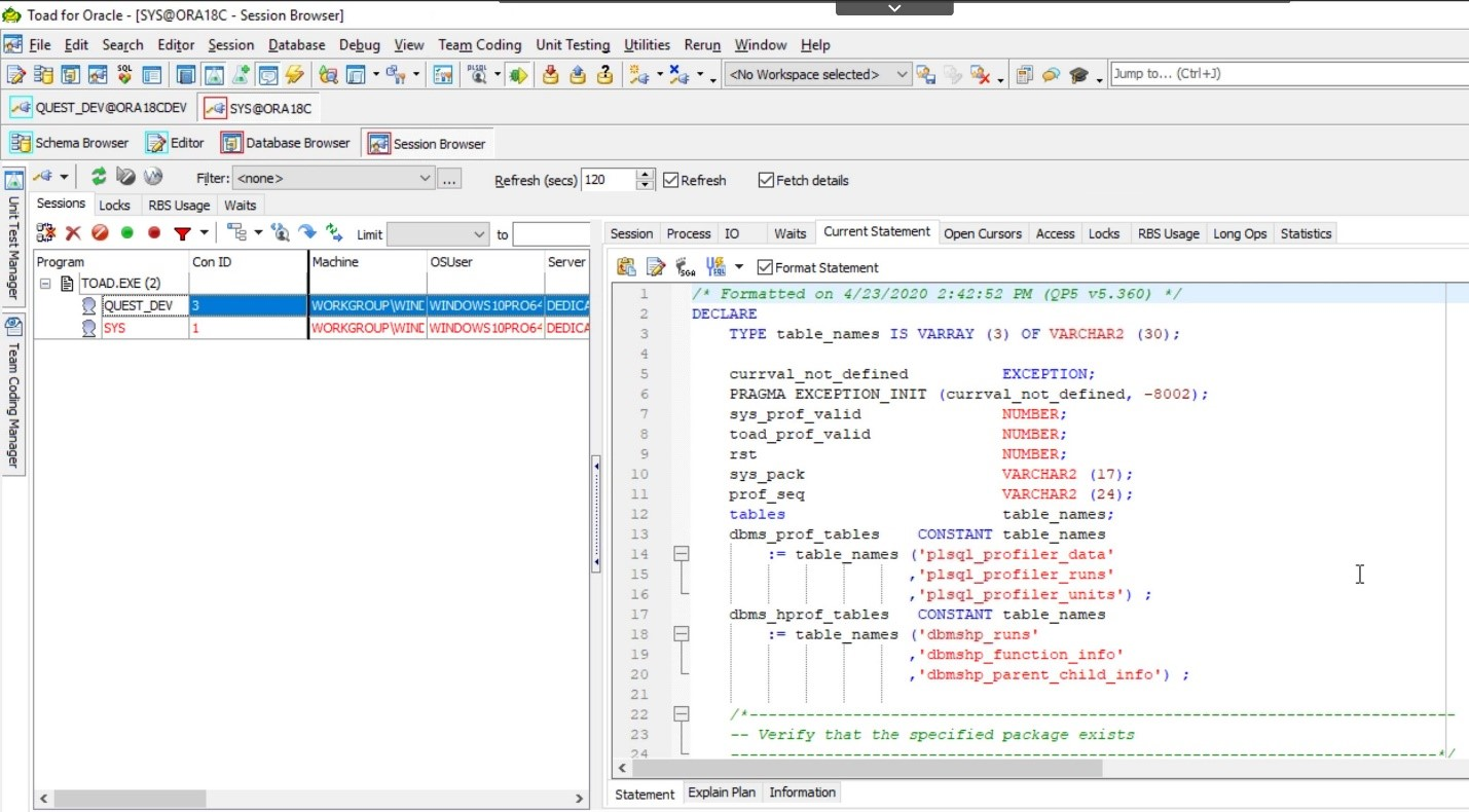 Toad for Oracle. Database Browser. Session Browser is open and now you can see all the details.