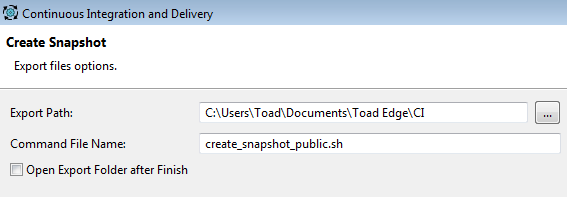 Figure 6. Create Snapshot export file options