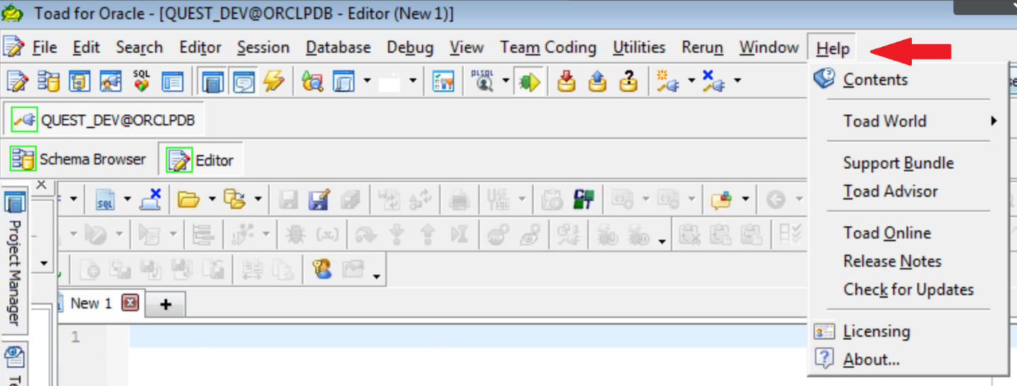 Figure 2. The Help selection on the Toad for Oracle menu bar