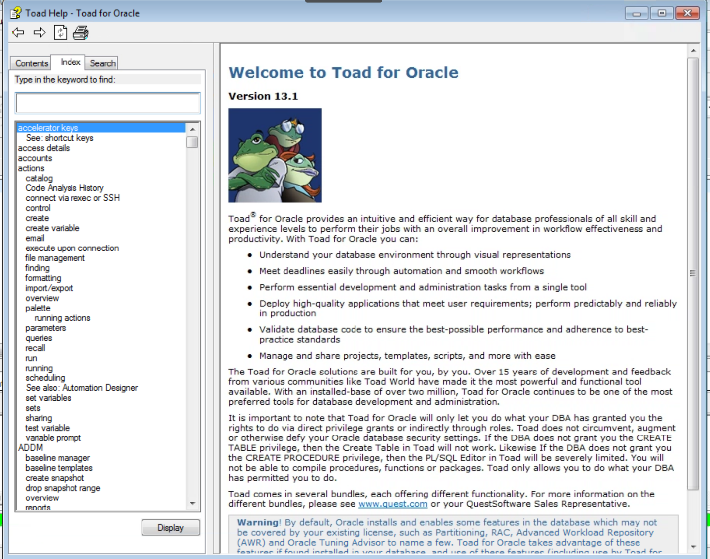Figure 4. The Toad for Oracle Help Index tab