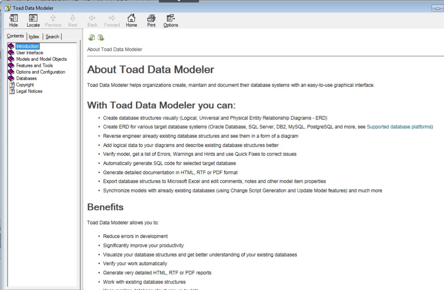 Figure 6. Toad Data Modeler Help