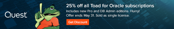 25% OFF All Toad® for Oracle subscriptions. Check out new Professional and DB Admin subscriptions. Shop by May 31, 2021. Sold one license at a time.