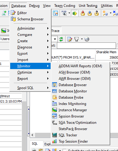 Visibility within Toad for Oracle Professional DB Admin Subscription edition