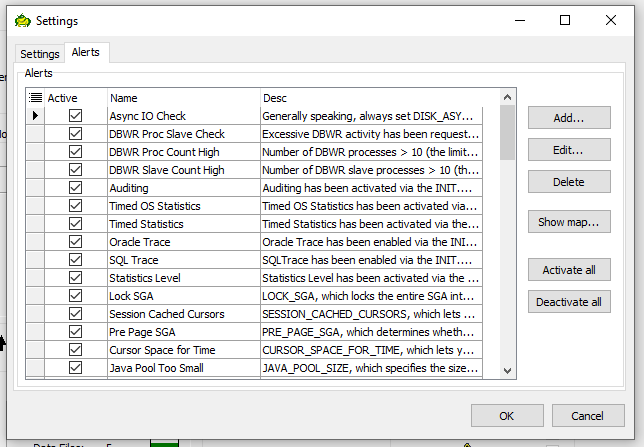 Toad for Oracle Database Probe options alerts tab