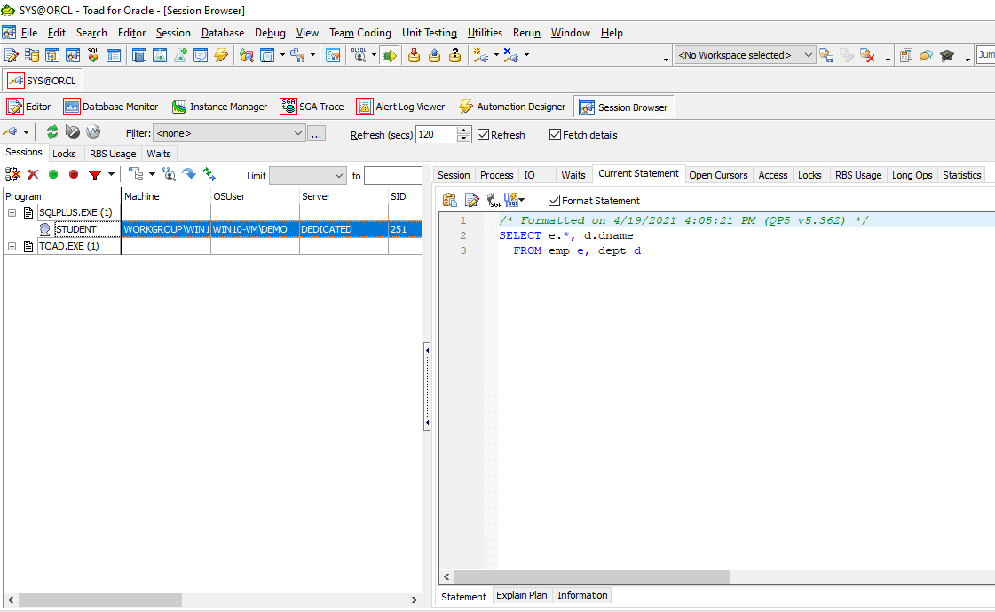 Toad for Oracle Session Browser
