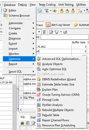 Toad for Oracle SQL optimization tools