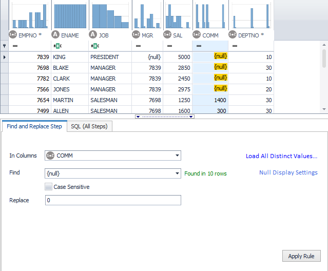 Toad Data Point Fixing Null Values helps solve data preparation issues