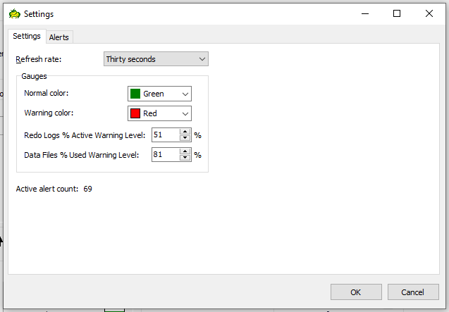 Toad for Oracle Database Probe options settings tab