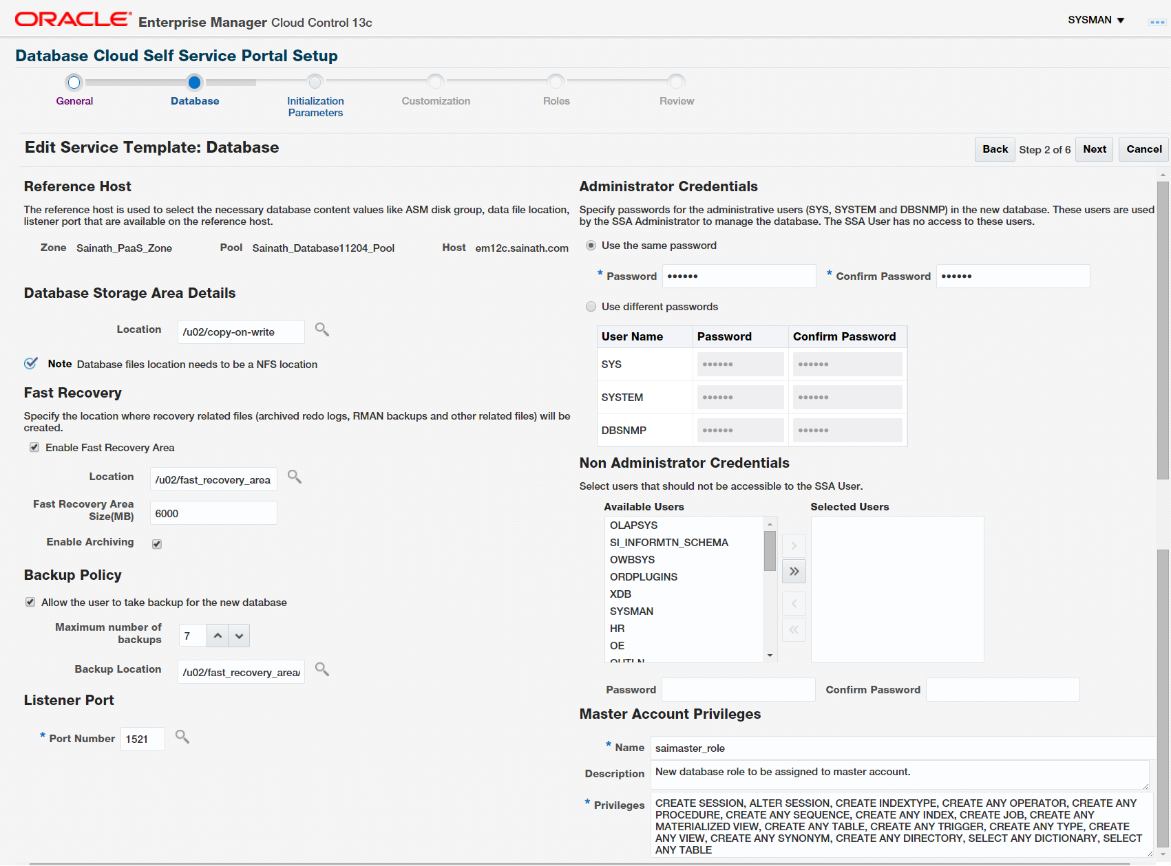 Figure 29. Database Details for Snap Clone Service Template