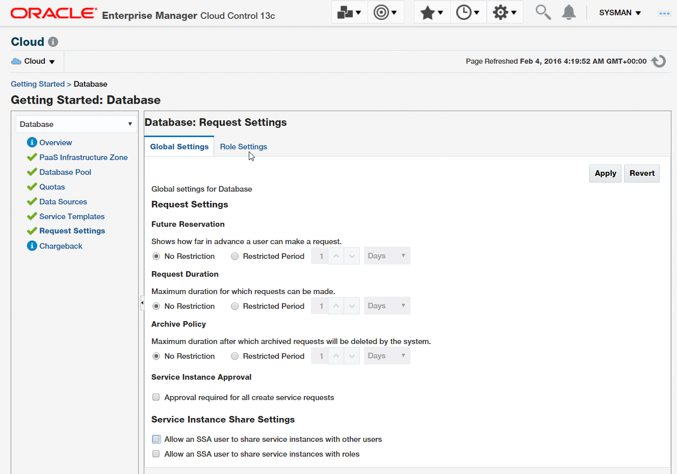 Figure 31. Global Request Settings for Database