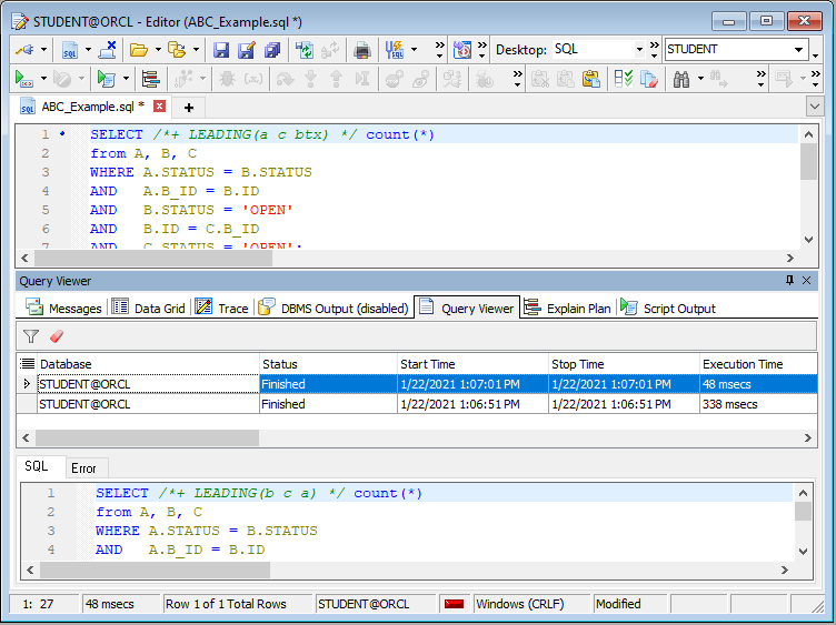 Figure 3: Using Query Viewer