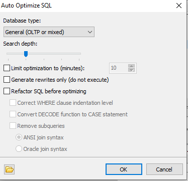 Figure 6: SQL Optimize Setup Panel