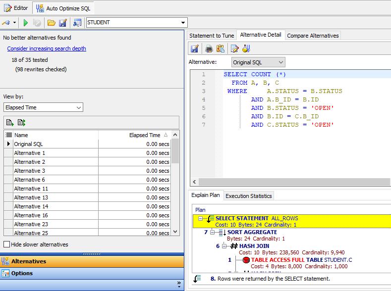 Figure 7: SQL optimization in action