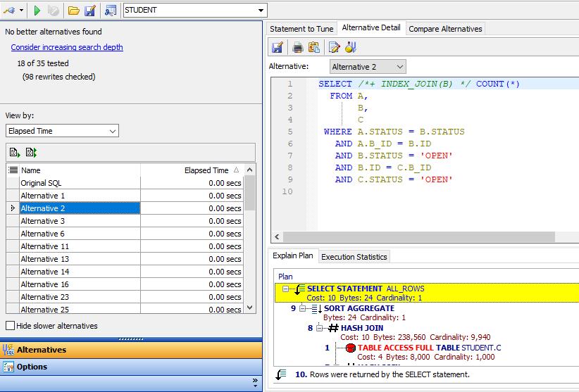 Figure 8: SQL optimization in action