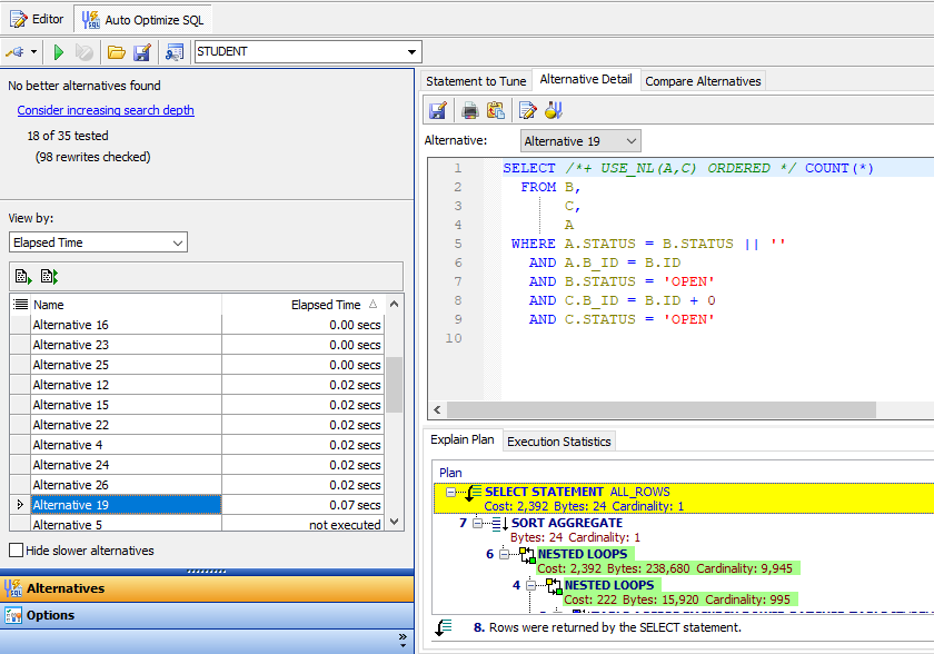 Figure 9: SQL optimization in action.