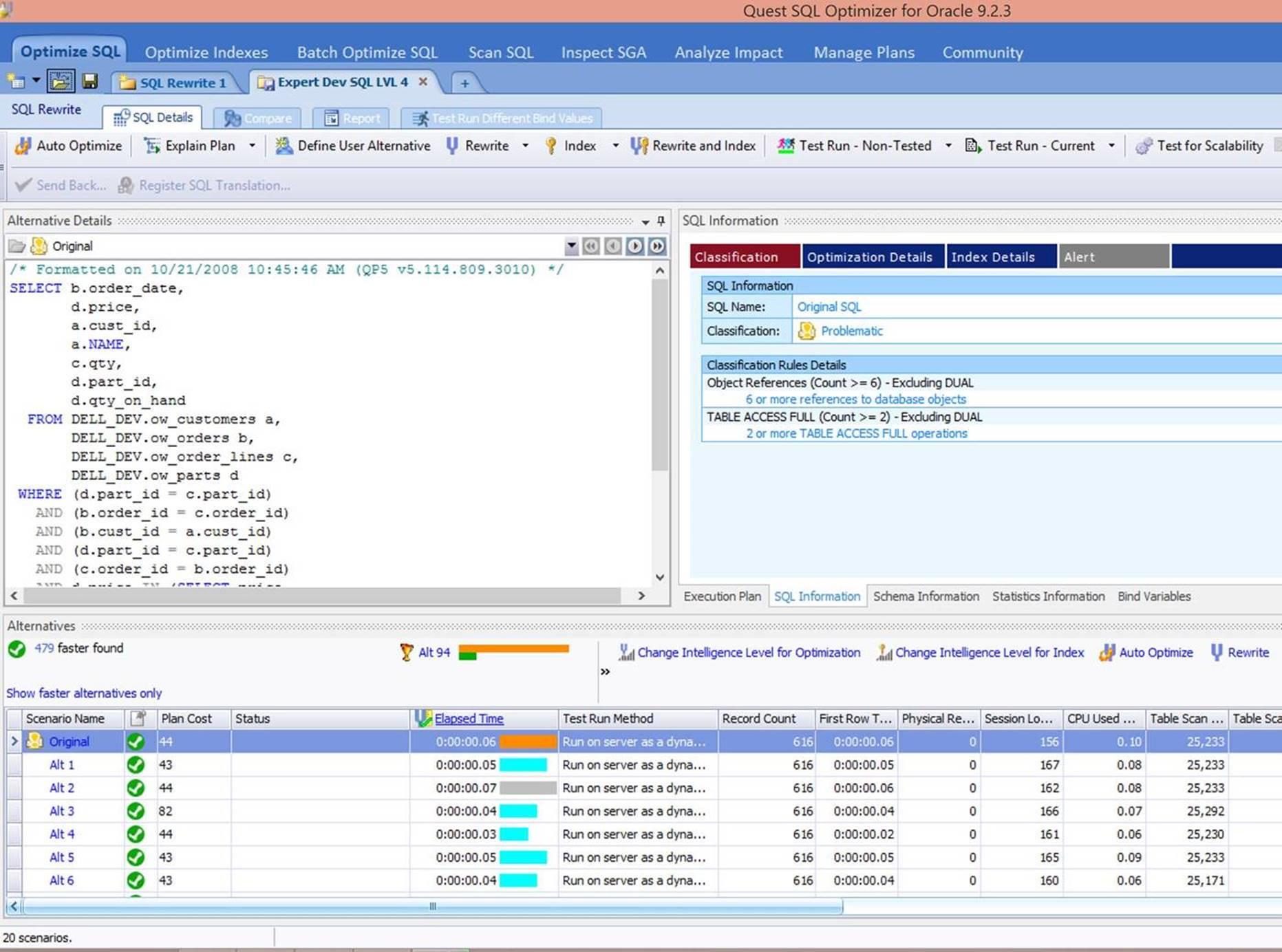 Screen shot : After SQL Optimizer has been run.