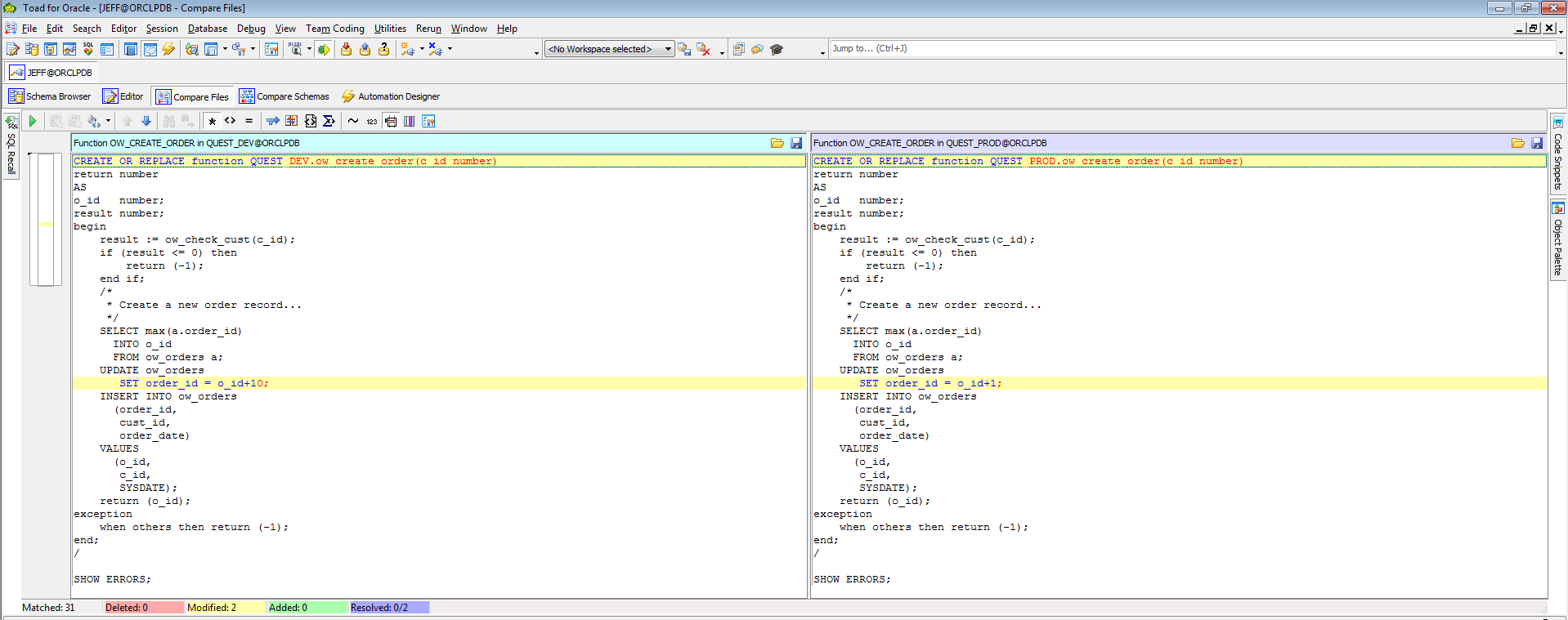 Screen shot of comparing and syncing database changes from one environment to another.