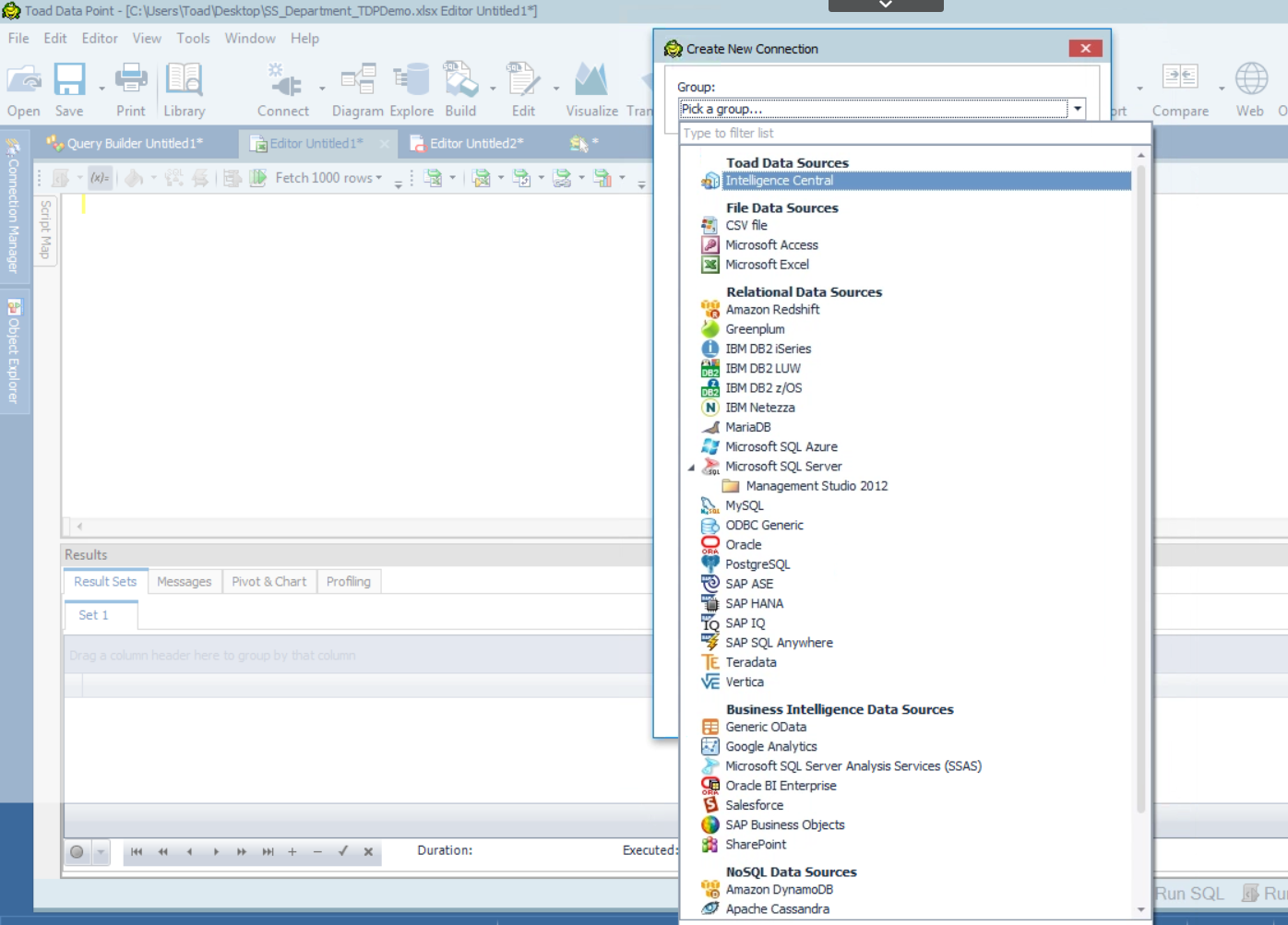 Screen shot of Toad Data Modeler Intelligence Central feature, which allows you to connect to over 30 different databases.