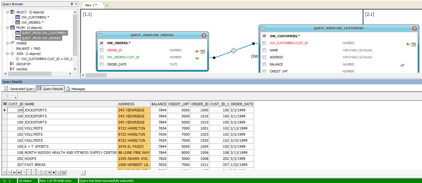 Screen capture of query to see the resulting data grid.