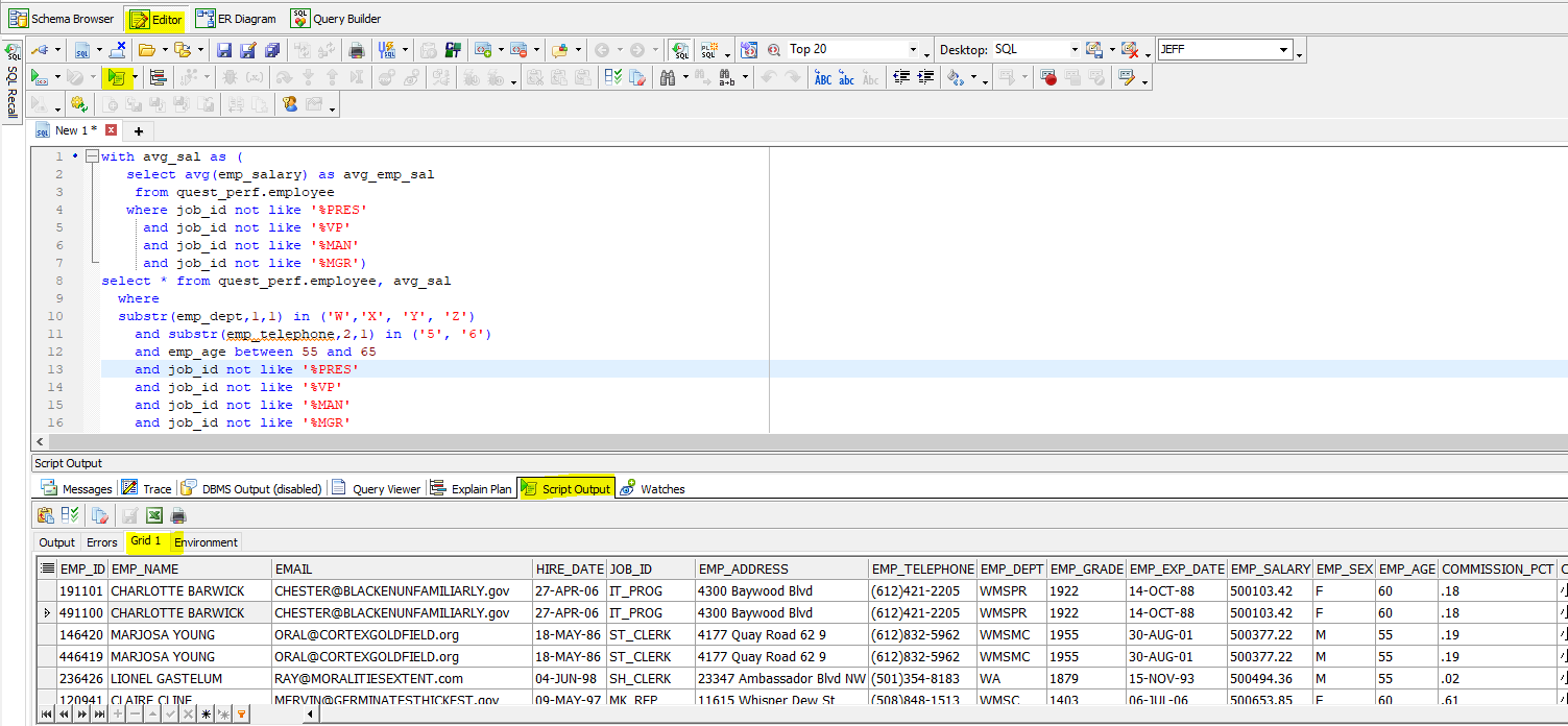 No matter how complex your query is, you can run it and see the resulting data grid within Toad for Oracle.