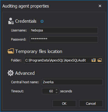 In the Agent properties form, provide a valid Windows administrator name and password.