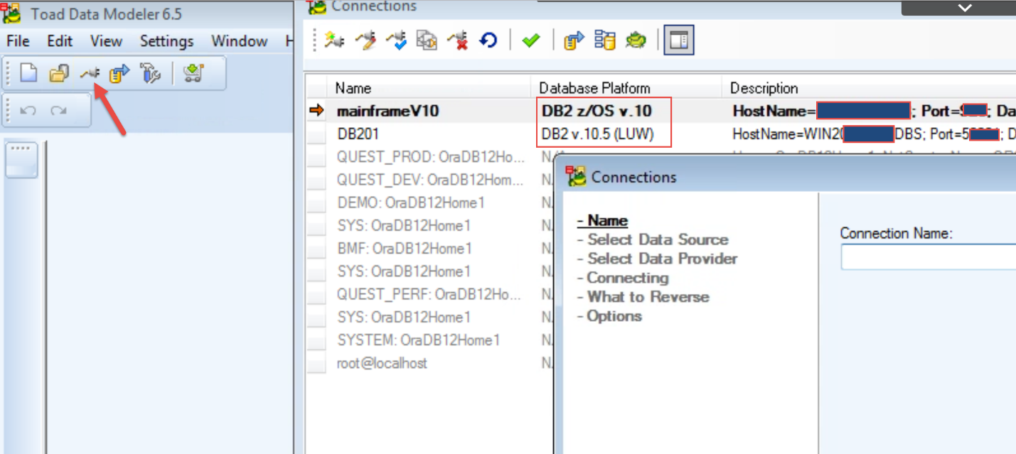Figure 1.  Resulting two connections  for DB2 on zOS  and  DB2 on LUW DB201