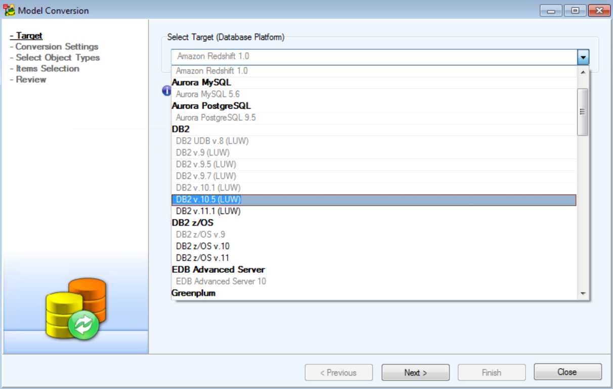 Figure 12.  Choosing to convert the model to LUW v10.5, same as my comparison target database.