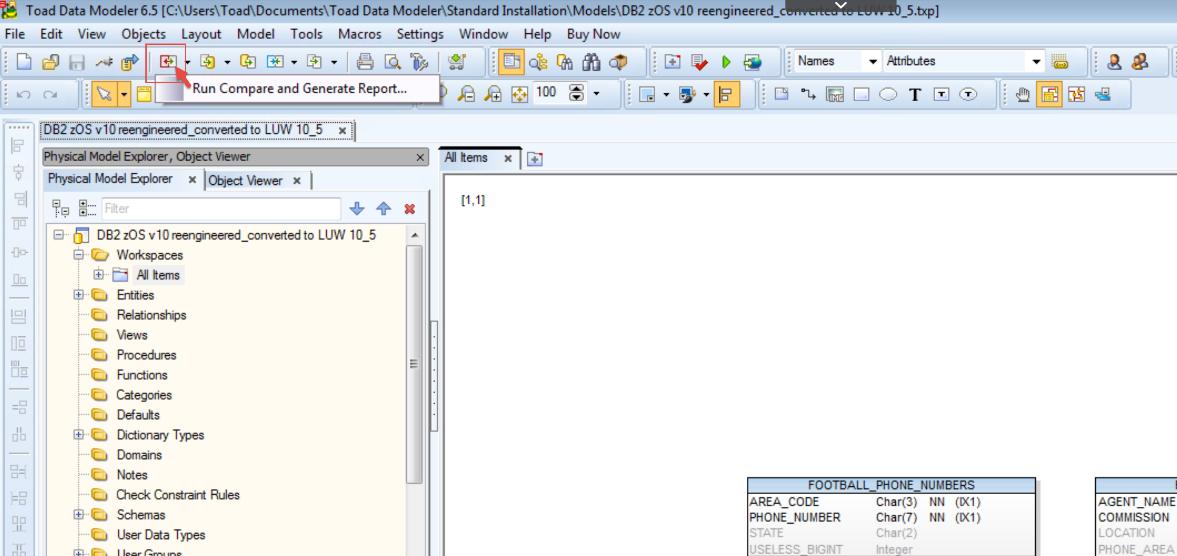 Figure 18.  Run a compare and generate a report