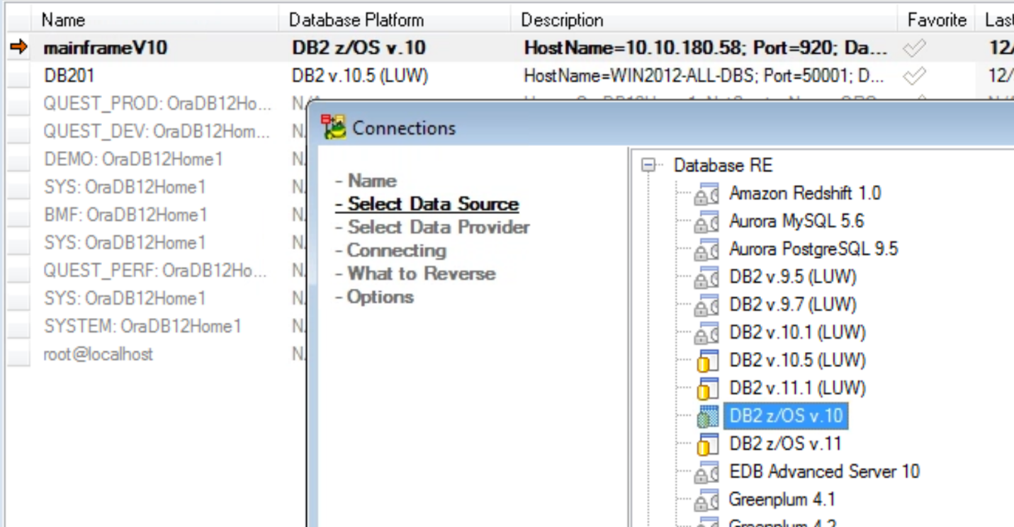 Figure 2. Choose the correct database version for each connection