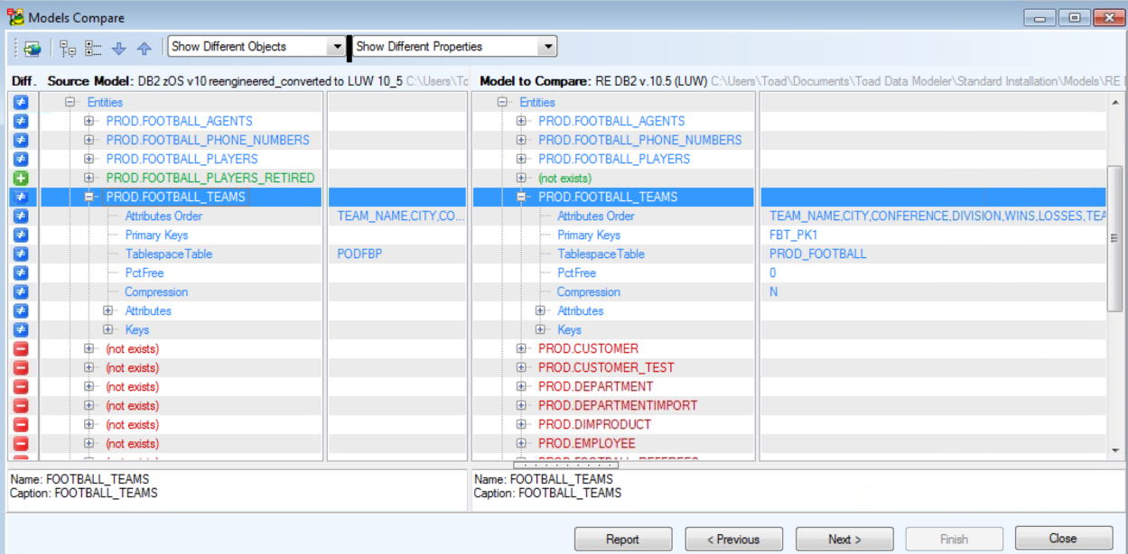 Figure 21.  Expand objects on the report to see specific differences between the two schemas