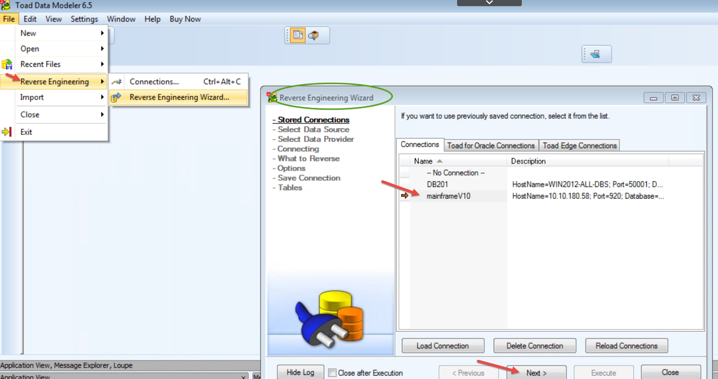 Figure 4.  Reverse engineer the DB2 zOS subsystem schema to create a physical model