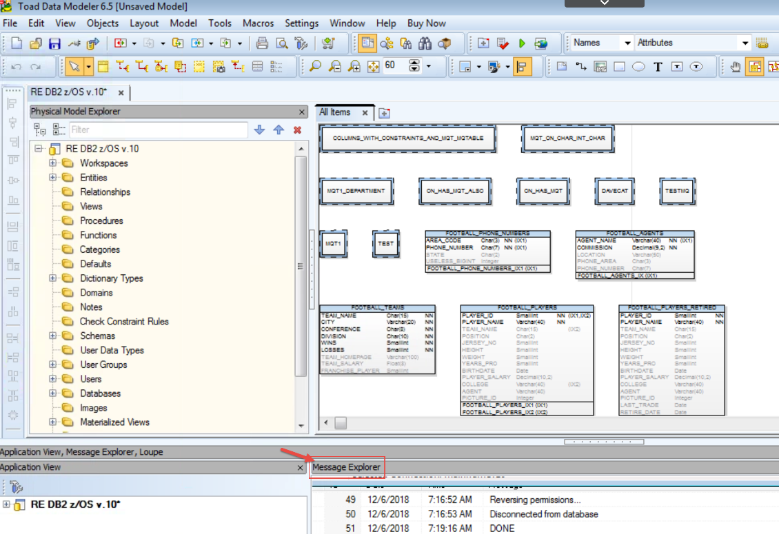 Figure 9.  The completed physical DB2 zOS schema model.  Note the Message Explorer at the bottom.