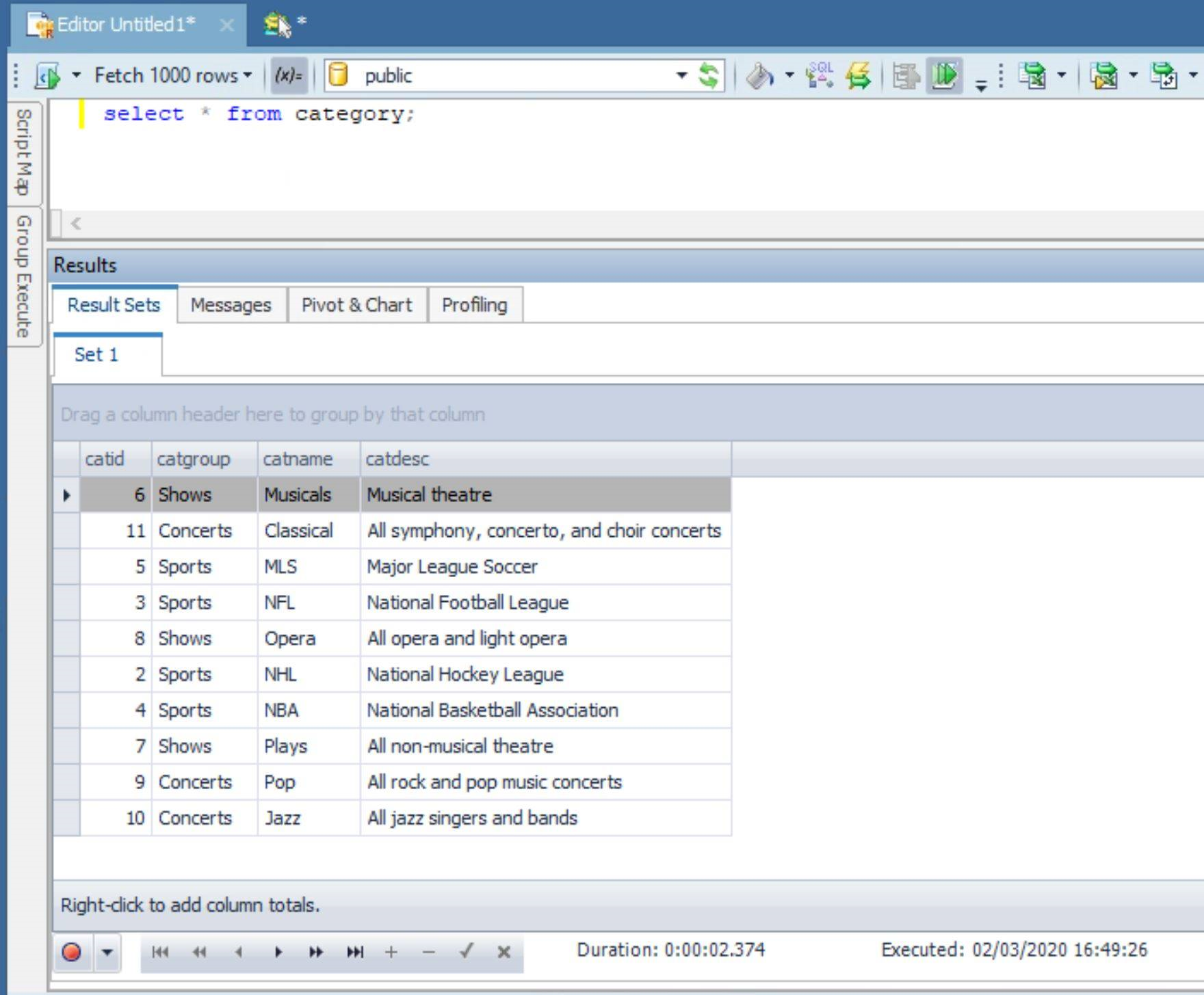 Screen capture showing the results of running a SQL query against Redshift in Toad Data Point.