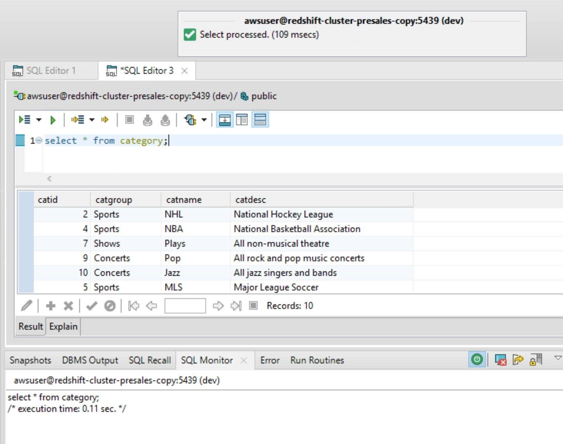 Screen capture showing the results of a SQL statement coded and then executed within the Toad Edge client application, accessing data from Redshift.