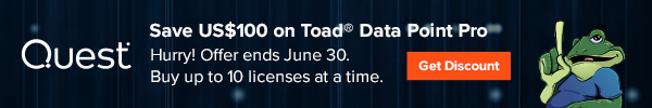 Working with date ranges in Toad Data Point? Save US$100 on Toad® Data Point Pro. Hurry! Offer ends June 30. Buy up to 10 licenses at a time. Get your discount.