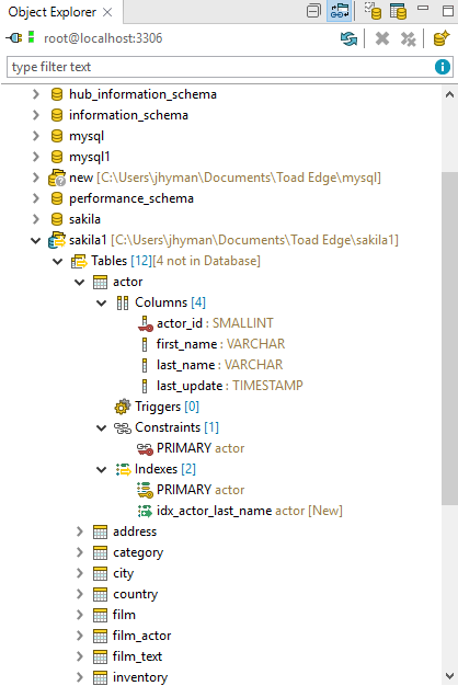 Screen shot of Object Management using Toad for Oracle intuitive UI.