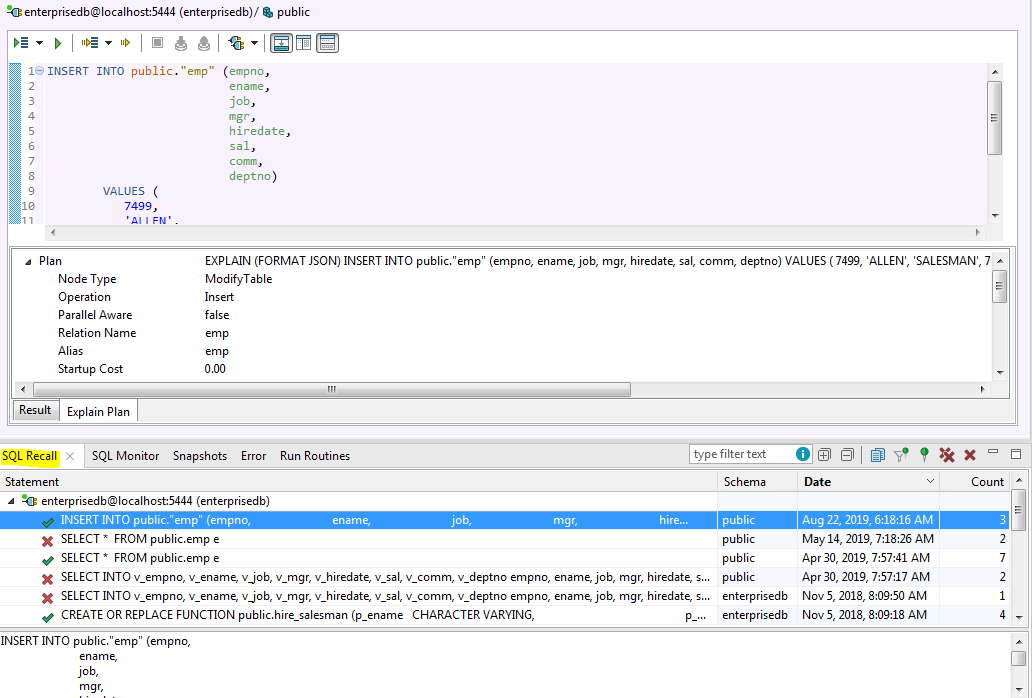 Screen shot of Toad for Oracle automatic SQL Recall feature