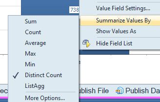 Distinct count, select Summarize Values By.