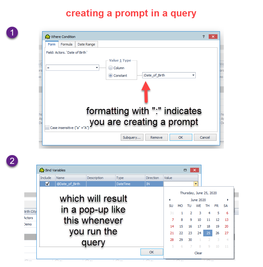 At the Form tab, if you format with a colon (:), that indicates you are creating a prompt., which will result in a pop-up whenever you run the query.