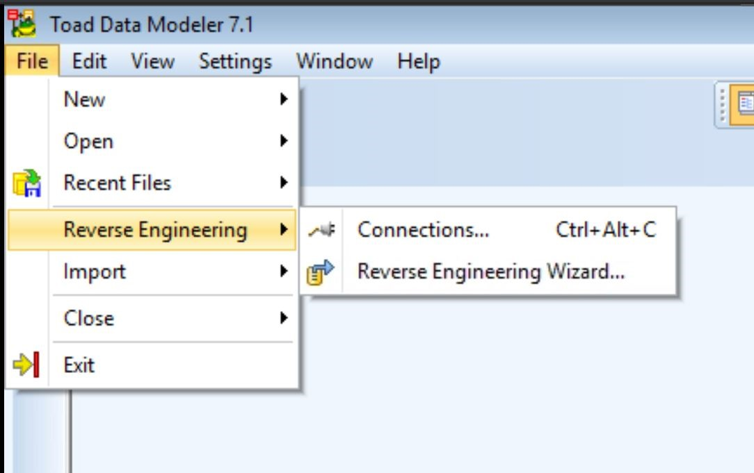 Screen shot of how to create a reverse engineering model in Toad Data Modeler.