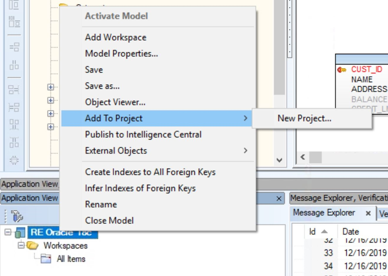 Screen shot Toad Data Modeler to create a new project. Choose add to project from the menu.