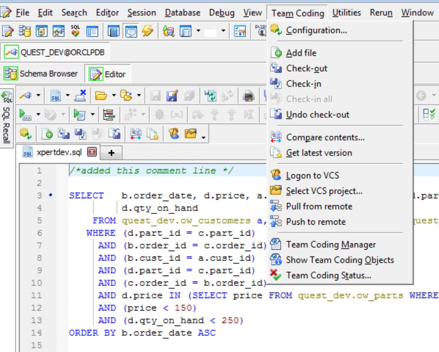 Screen shot of Toad for Oracle Team coding drop down menu