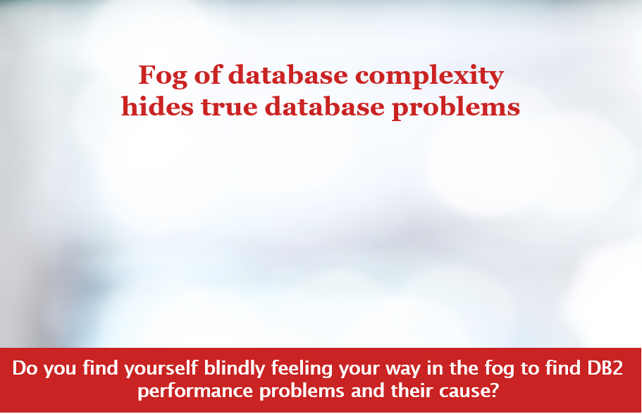 "Screen shot, ""Fog of database complexity hides true database problems."
