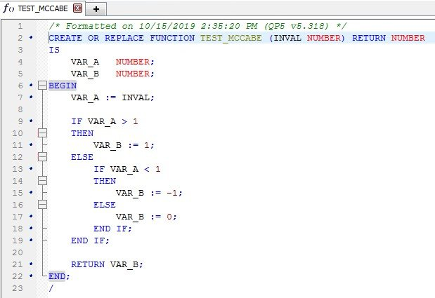 How is McCabe Cyclomatic Complexity calculated? Screen shot.