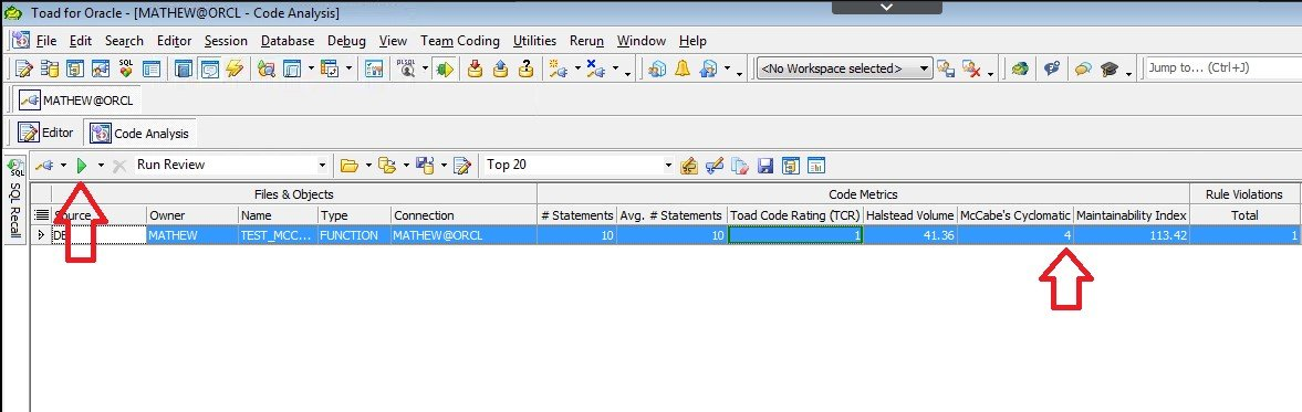 Screen shot Toad for Oracle Code Analysis, McCabe Cyclomatic metric is 4.