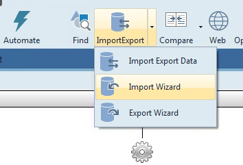 Alt text: In the menu bar, click ImportExport, then Import Wizard.