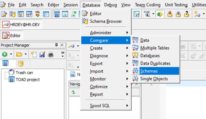 The Compare Schemas tool is found in the main menu Database > Compare > Schemas.
