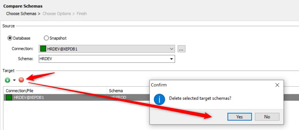 Select Yes to delete target schema.