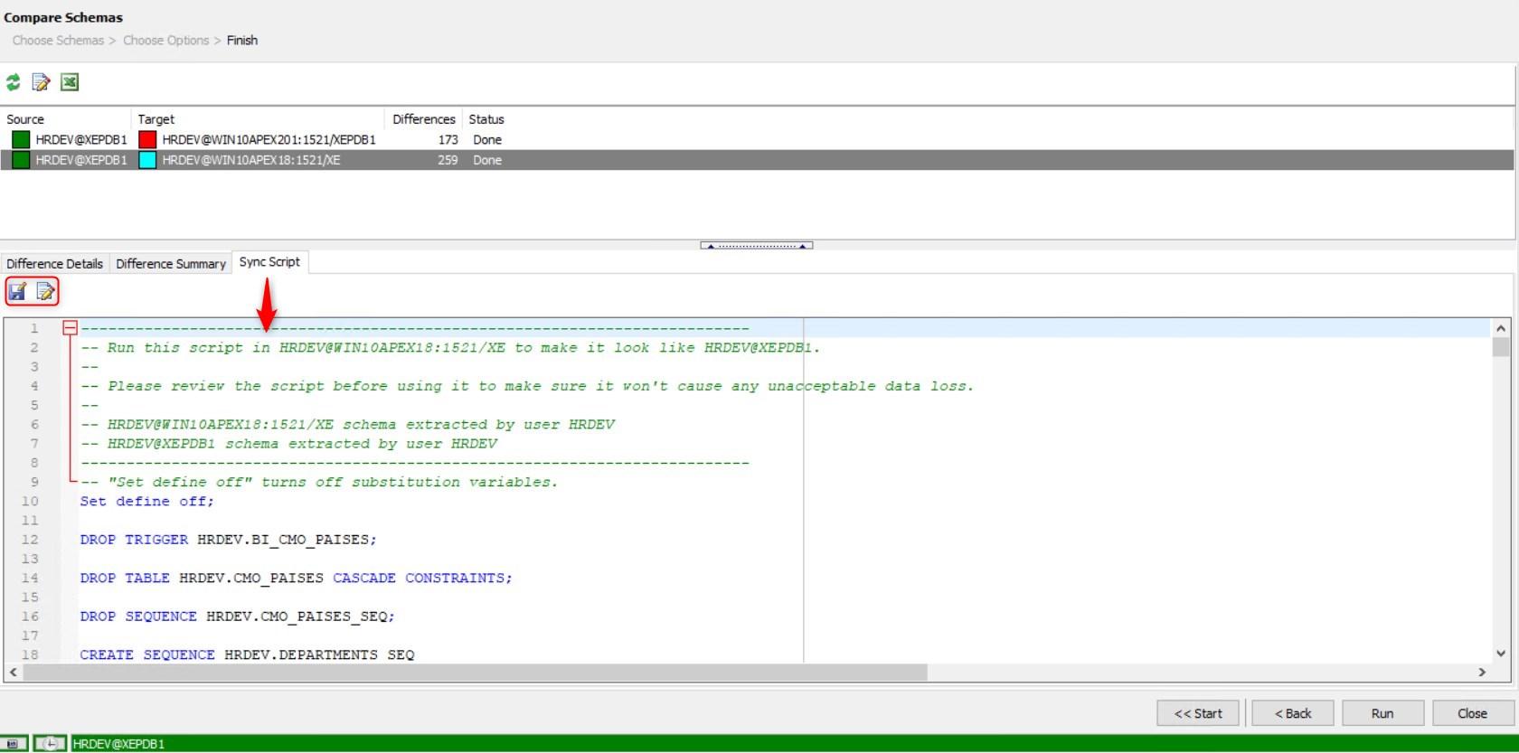 Figure 14: Compare Schemas – Sync Script Tab