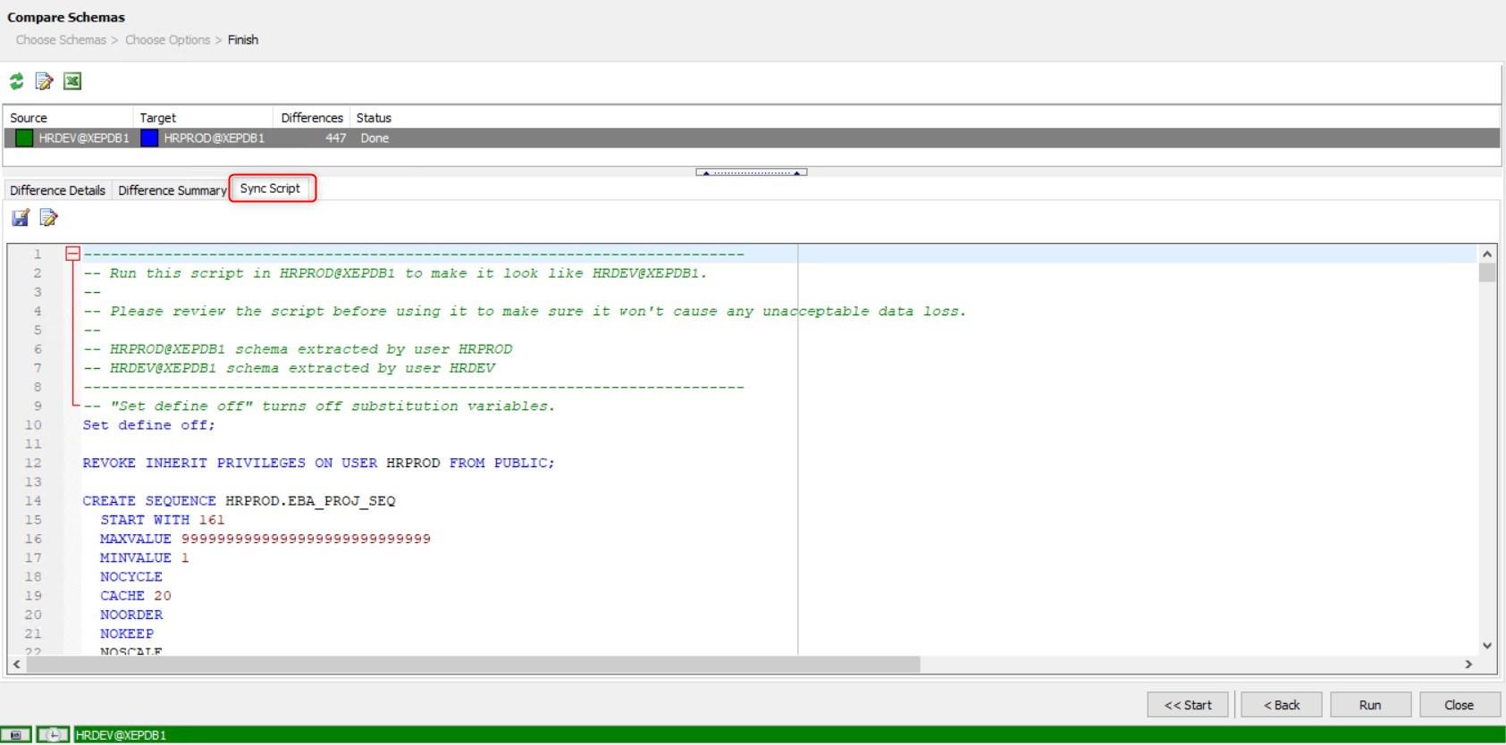 An example synchronization script.